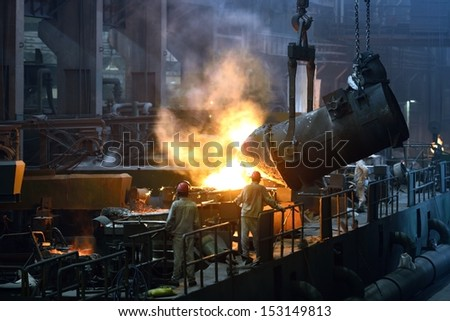 Iron and steel factory workshop - stock photo