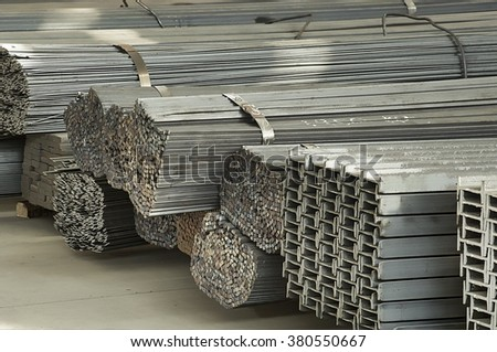 iron and steel material storage - stock photo
