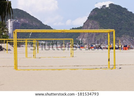 Iron bars to exercise and sports - Landscape of Copacabana Beach - Rio de Janeiro  - stock photo