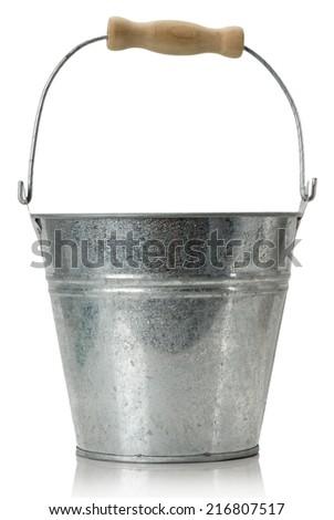 iron bucket isolated on the white background - stock photo