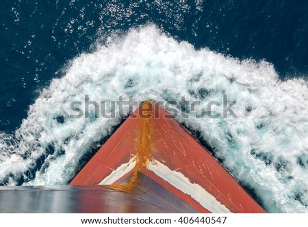 Iron bulb in the bow of a big  ship sailing - stock photo