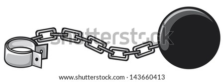iron chain with shackle (criminal design, ball and chain) - stock photo