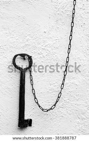iron key to bussana Vecchia Italy - stock photo