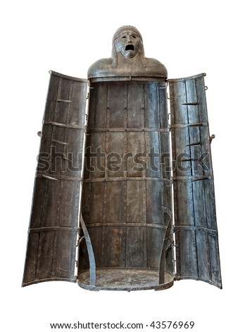 Iron Maiden, medieval torture device isolated on white background - stock photo