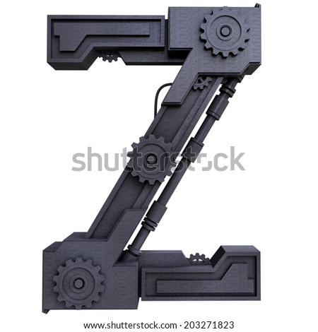 Iron mechanical black letters scratched metal on a white background. Letter z - stock photo