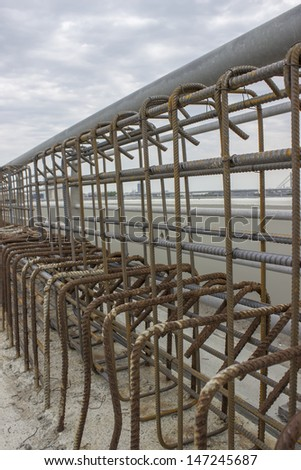Iron mesh on construction site of Ada bridge. On Sava River, in Belgrade, Serbia - stock photo