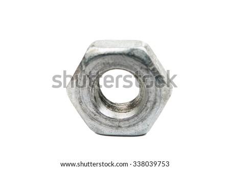 Iron nut macro isolated on white - stock photo
