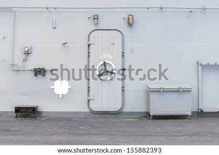 Iron old door warship and of thailand - stock photo