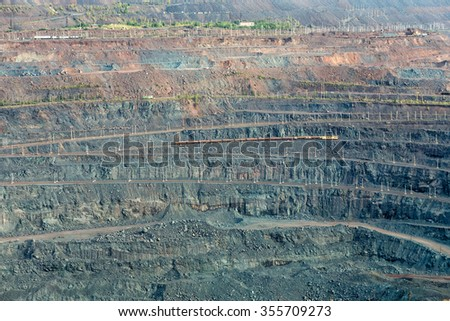 Iron ore mining. Mikhailovsky Mining and Processing Plant. Zheleznogorsk. Russia. Kursk Magnetic Anomaly - stock photo