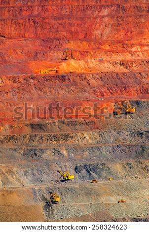 iron ore open pit mining, quarry - stock photo
