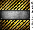 iron plate with warning stripe - stock photo