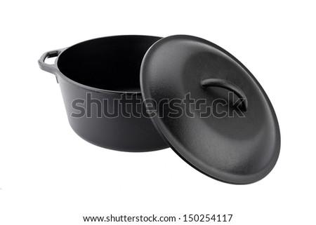 Iron pot isolated on white - stock photo