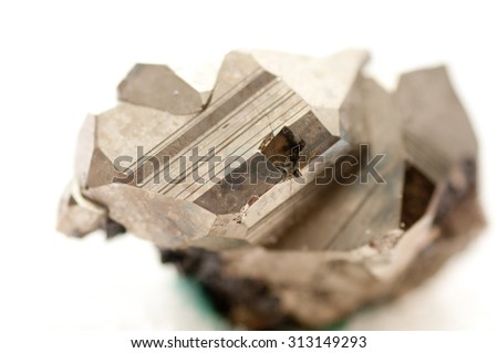 iron pyrite metal, fool's gold mineral sample - stock photo