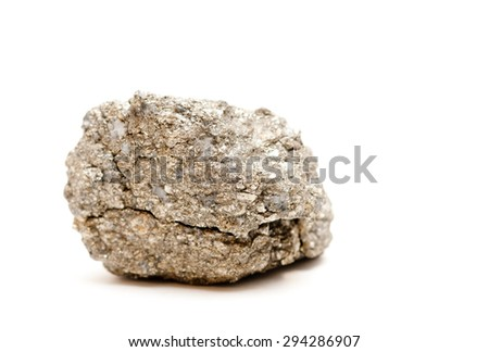 iron pyrite metal mineral sample, also known as Fool's Gold - stock photo