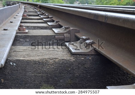 Iron railway.Close up - stock photo