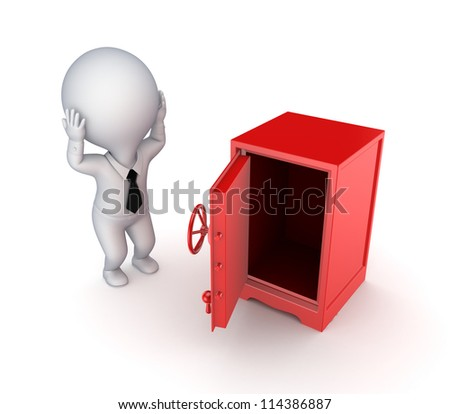 Iron safe and stressed 3d small person.Isolated on white background. - stock photo