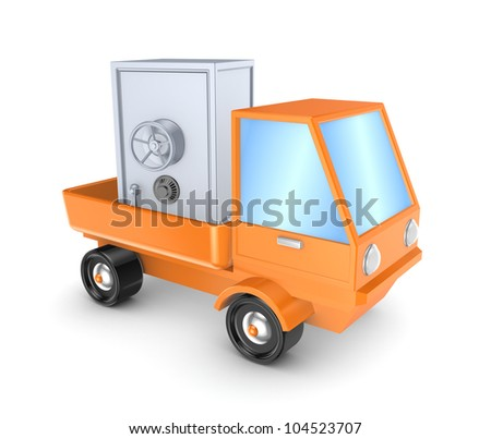 Iron safe in orange truck.Isolated on white background.3d rendered. - stock photo
