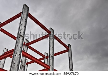 iron scaffolding - stock photo