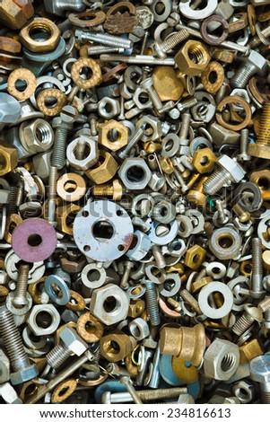 iron screw nuts background - stock photo