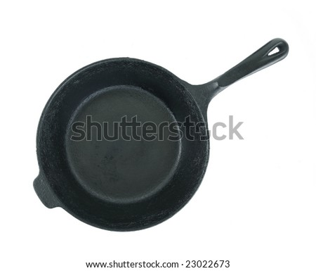Iron Skillet Top View Isolated - stock photo