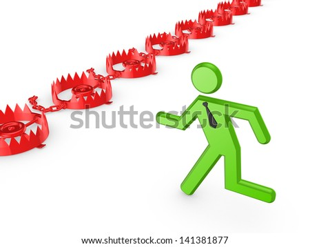Iron traps and running 3d small person.Isolated on white.3d rendered. - stock photo