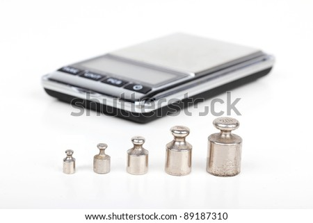 Iron weights and digital scales, closeup on white - stock photo