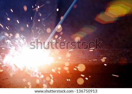 Iron Welding, Bright Light - stock photo