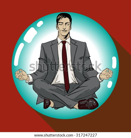Ironic Satirical Illustration of a Classic Comics Man. Tired businessman working Peace of Mind Silhouette of a man figure meditating on a ball bubble. Calm businessman sitting in yoga asana & smiling. - stock photo