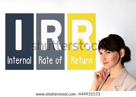 IRR. Internal rate of return. Profitability metric.  - stock photo