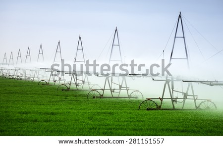 Irrigation basis of high yield crop outdoors agriculture - stock photo