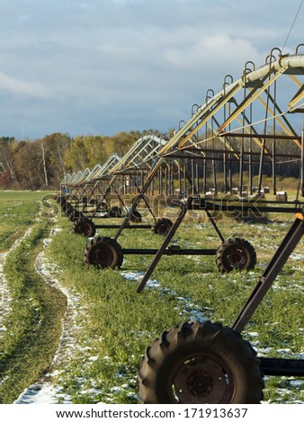 Irrigation System for growing hay - stock photo