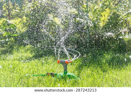 Irrigation system lawn - stock photo