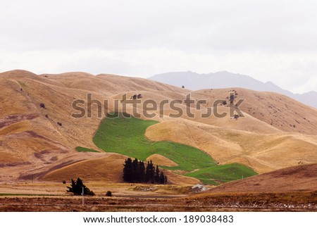 Irrigation watered green field in dry grassland hills yellow from drought due to global warming climate change - stock photo