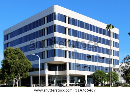 IRVINE, CA- CIRCA AUGUST 2015:  Modern office building in this Southern California suburb. - stock photo