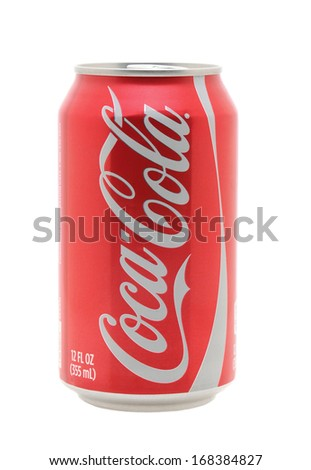 IRVINE, CA - January 11, 2013: Photo of a 12 ounce can of Coca-Cola Classic. Coca-Cola is the one of the worlds favorite carbonated beverages. - stock photo