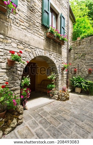 Is a typical italian street in the a small provincial town in Tuscany, Italy, Europe - stock photo