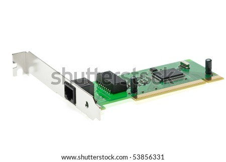 ISDN (or LAN ethernet) PCI adapter  isolated on the white background - stock photo