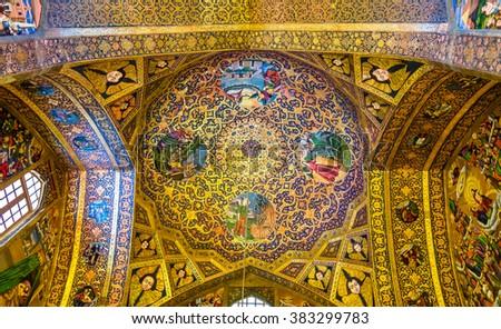 ISFAHAN, IRAN - JANUARY 3: Interior of Vank Cathedral in Isfahan on January 3, 2016. The cathedral was built in 1606-1664 by Armenian deportees - stock photo