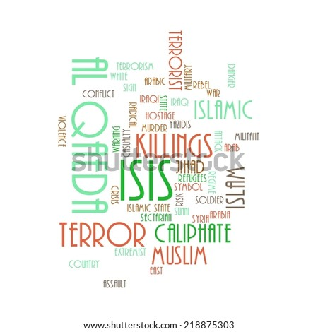 ISIS and Al Qaeda word cloud on white background. - stock photo
