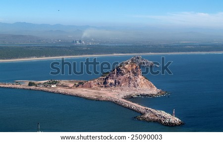 Isla Cordones, Mazatlan, Sonora, Mexico as viewed from the el Faro Lighthouse -  looking south Panorama pic 7 of 8 - stock photo