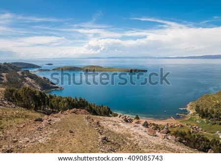 Isla del Sol in Lake Titicaca, Bolivia - stock photo