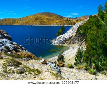 Isla del Sol on Titicaca Lake - stock photo