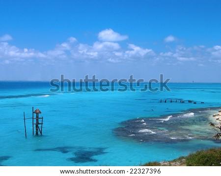 isla mujeres caribbean sea - stock photo
