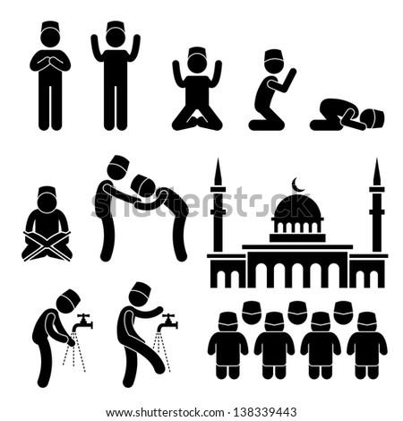 Islam Muslim Religion Culture Tradition Stick Figure Pictogram Icon - stock photo
