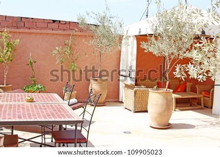 Islamic arabian architecture: roof of riad - stock photo