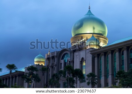 Islamic architecture in dusk, long exposure - stock photo