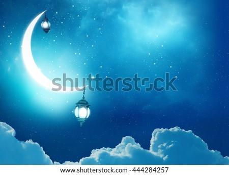 Islamic greeting  Eid Mubarak cards for Muslim Holidays.Eid-Ul-Adha festival celebration . Ramadan Kareem background.Crescent Moon and Lantern Lightning in sky - stock photo