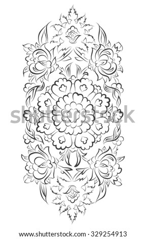 Islamic ornament digital tablet drawing with floral decorations - stock photo