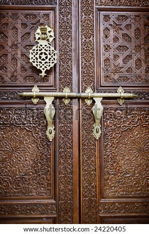 Islamic style door with details background - stock photo