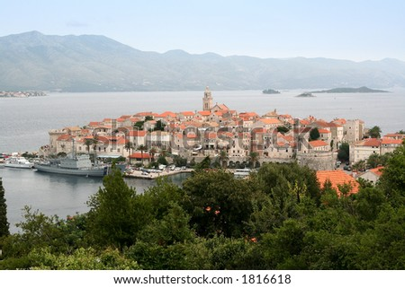 Island and city Korcula,Croatia - stock photo